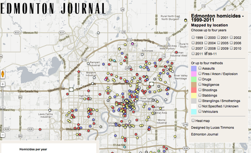 large map A dozen years of homicides mapped
