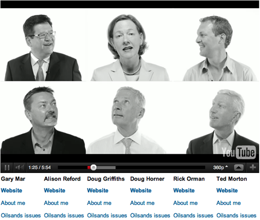 A screen shot of the Edmonton Journal's interactive candidate video player.