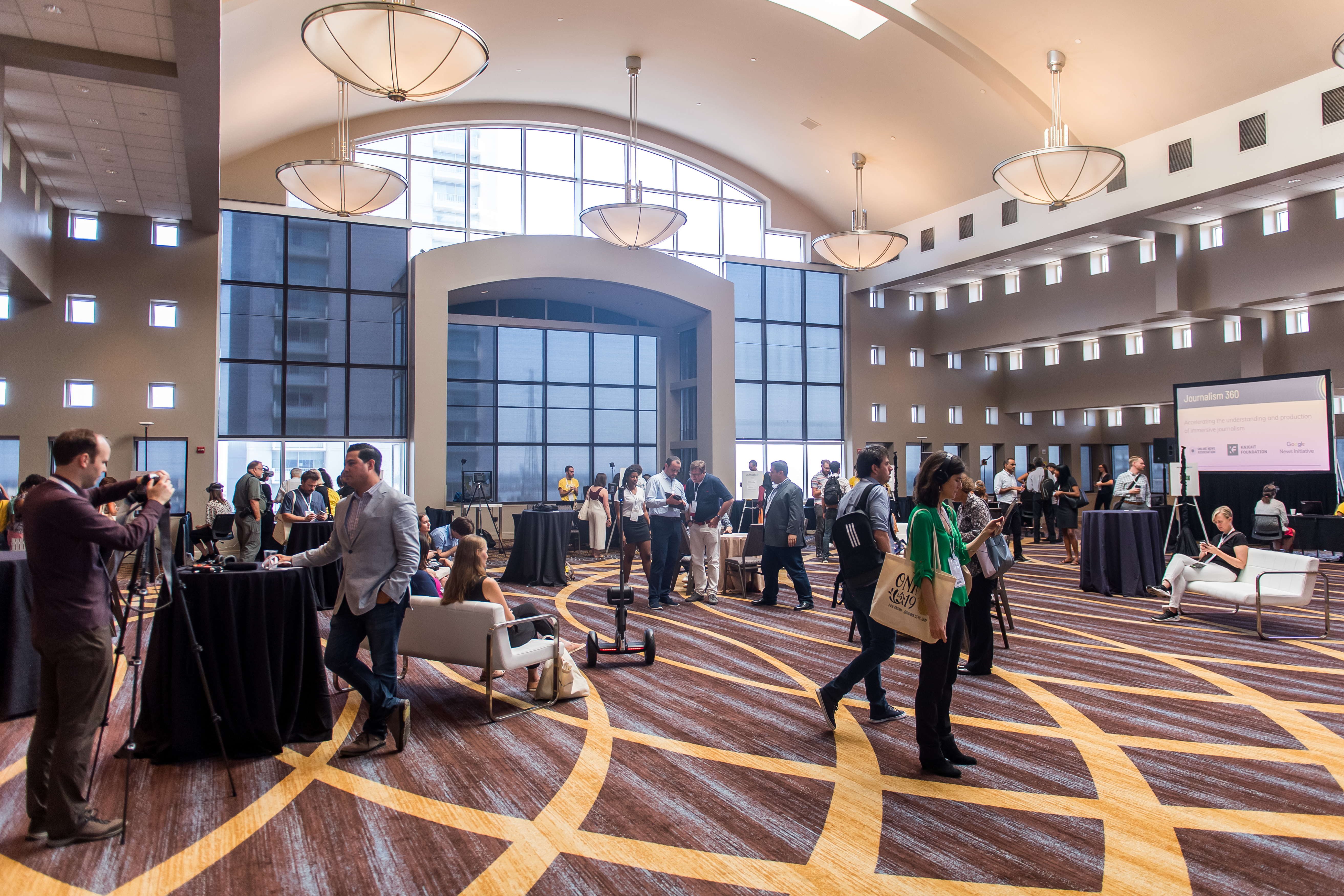 A view of the venue for the Journalism 360 Immersive Storytelling Festival at the 2019 Online News Association Conference in New Orleans.