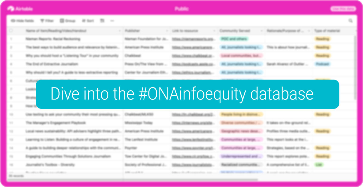 Dive into the #ONAinfoequity database